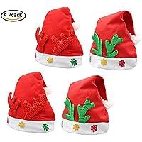 4パッククリスマス帽子子供トナカイクリスマスキャップ赤と緑のクリスマステーマHats