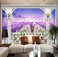 Lcymt 自然風景壁画壁紙カスタム3Dピンク紫の花フィールド壁紙寝具ルーム風景家の装飾壁装-250X175Cm