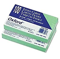 (200) - Oxford(R) Coloured Recycled Index Cards, Unruled, 7.6cm .x 13cm, Green, 2 Pack of 100 Cards