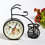 London'S 置時計 ヨーロピアン アンティーク風 自転車 レトロ調 北欧風 ヴィンテージ 花柄 小物入れ 雑貨 オシャレ インテリア 時計 玄関 リビング