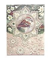 パンチスタジオ 【クリスマス】 ミニノートパッド (鳥×雪の結晶×グリーン) 59623