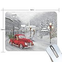 マウスパッド 雪花 赤い車 白い城 ゲーミングマウスパッド 滑り止め 19 X 25 厚い 耐久性に優れ おしゃれ