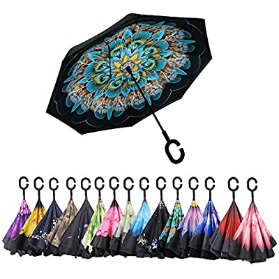 Double Layer Inverted Umbrella?Aweoods Cars Reversible Windproof Umbrella