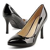 (フェリシア フェリーチェ) Felicia Felice 9cmヒールパンプス(アーモンドトゥ) 23.5cm ブラック(エナメル)黒