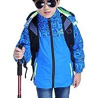 Zhhlinyuan Boys 3 in 1 Waterproof Jacket Hooded Windbreaker Fleece Lined Jackets - 8000mm Waterproof, 2000mm Breathable