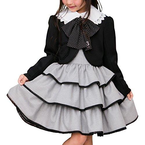 [アリサナ]arisana 入学式 女の子 スーツ 卒園式 子供服 フォーマル スカート エリー (リボン + ボレロ + ジャンパースカート の 3点 セット) 千鳥 115cm