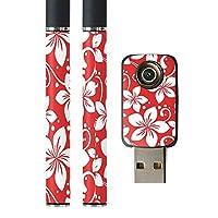 igsticker プルームテック Ploom TECH 専用スキンシール バッテリー スティック USB充電器 カバー ケース 保護 フィルム ステッカー スマコレ 004329 フラワー 花 フラワー 赤