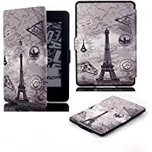 Kindle Paperwhite Case for Kindle All-New Paperwhite Thinnest and Lightest PU Leather Cover with Auto Wake/Sleep for Amazon Kindle (Eiffel Tower)