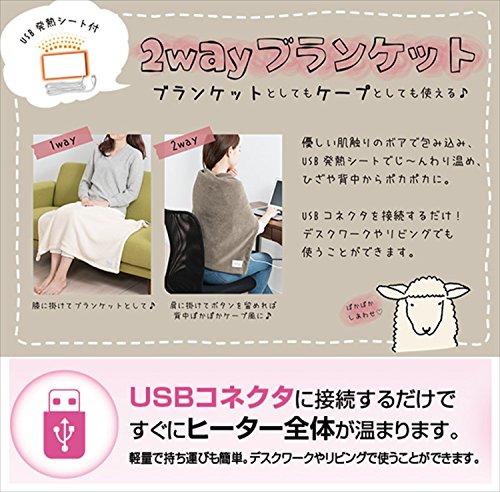 山善(YAMAZEN) USB発熱シート付 2WAY ブランケット 肩掛け/ひざ掛け (タテ×85cm) カフェブラウン YHK-UB60(CB)