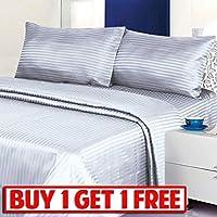 Buy One Get One Free – 4 Pieceクラシックドビーストライプシートセット、Wrinkle Free起毛マイクロファイバー2000シリーズシートと枕ケースセット キング グレー