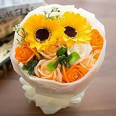 フレグランス ソープフラワー シャボンフラワー 夏にぴったり ひまわり&ローズ 花束 ブーケ FPP-808