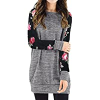 Sannysis Women's Elegant Blouses Long Sleeve Tops Floral Print T-Shirt Winter