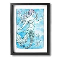Hao Jinsun Watercolor Beautiful Mermaid Outline 絵画 壁ポスター アートパネル 装飾画 壁飾り インテリアアート 木製の枠 モダン 現代の絵 額縁付き 40×30cm
