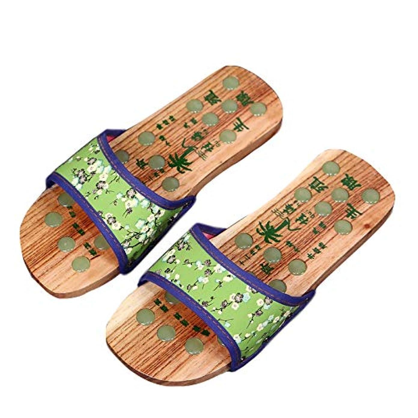 子自分の写真[エリンネ] 下駄風 レディース 栴檀 夏用 足裏マッサージ 普段着 健康サンダル 歩きやすい