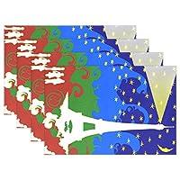 GORIRA(ゴリラ) DIY個性画像 エッフェル塔 幻絵 ランチョンマット 人気 おしゃれ 撥水 防汚 丸洗いOK お手入れ簡単 インテリア 滑り止め 摩擦 耐える 断熱 飾り 食卓 華やか 雰囲気 大人 子供 対応 家庭 レストラン用 約幅30cmx丈46cm 6枚セット