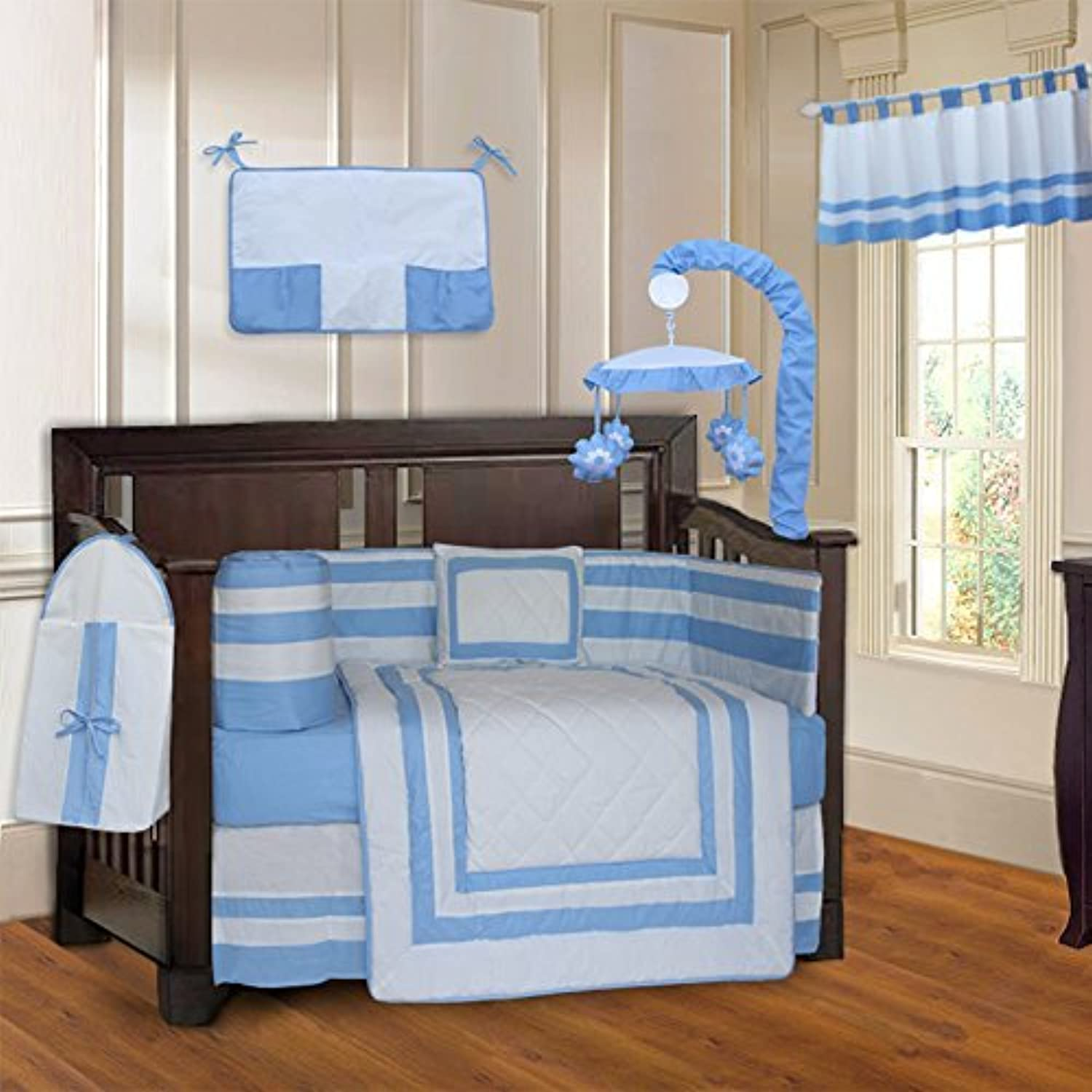 BabyFad Modern Quilted Blue 10 Piece Baby Crib Bedding Set [並行輸入品]