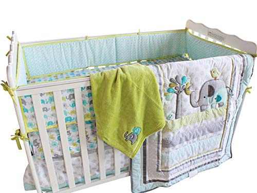 Baby Blue Elephant 10pcs Cot Bedding Set with Diaper Stacker and Musical Mobile