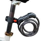 ARCH-GLOBAL 自転車ロック ダイヤルロック 5桁(錆びにくい亜鉛合金仕様)【接続ホルダー2個付】自由設計 バイクロック ケーブルロック 鍵 ロードバイク