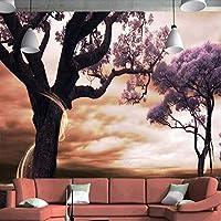 Xbwy カスタム3Dファンタジー壁画壁紙紫色の花の木壁壁画寝具部屋テレビの背景3D不織布壁紙壁紙ロール-280X200Cm