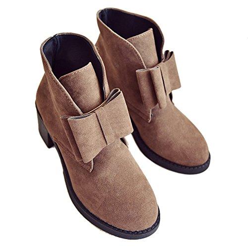 Spinas(スピナス) レディース ショートブーツ ブーツ スエード調 リボン付き ブーティー 起毛 コロンとしたデザイン(ブラック グレー ブラウン) (ブラウン、39)