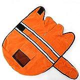 OHF ペット服 冬用 反射 ドッグウェア ジャケット 中大型犬 裏毛 防寒 パーカー (オレンジ, L)