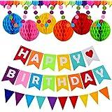 Alrigon ハッピーバースデーバナー 誕生日パーティー用品セット カラフルなハニカムボール ペナントバナー