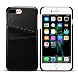 iPhone8 7 Plus ケース カードホルダー PUレザー 合皮 軽量 アイフォン8 7 プラス 5.5インチ カバー ブラック