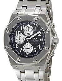 [テクノス]TECHNOS T4393SB クロノグラフ デイト 10気圧防水 八角形 ブラック×シルバー メンズ 腕時計 [並行輸入品]