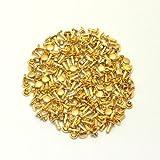 両面カシメ 特小 足長 頭4.6mm 足7mm ゴールド(真鍮無垢-キリンス仕上げ) 100個セット