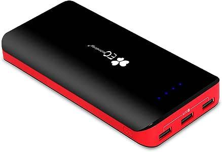 EC Technology 22400mAh モバイルバッテリー パワーバンク 超大容量 3ポート 急速充電 インテリジェント電源管理IC 急速充電 2入力ポート付き ブラック&レッド