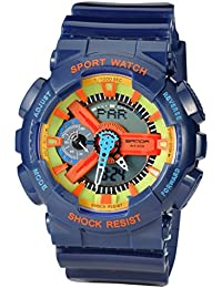 Kid 'sデュアルダイヤルアナログデジタル防水子供学生腕時計クロノグラフスポーツ腕時計ブルー