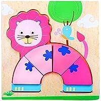 パズルゲーム子供のための2PCS子供の木製パズル[ライオン]