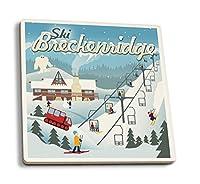 スキーBreckenridge、コロラド–レトロSki Resort 4 Coaster Set LANT-77390-CT