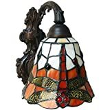 Red Dragonfly Wall Lamp Sconces, Tiffany Style 7 Inches Stained Glass Wall Light Reading Lighting for Bedroom Living Room Hotel, Bathroom Mirror Headlight,Singlehead