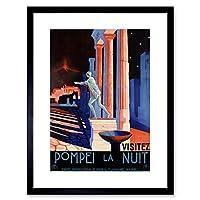旅行PompeiiイタリアローマStatue Vesuvius Volcano Framed Print f12X 6871 12-Inches x 16-Inches ブラック F12X6871_Black