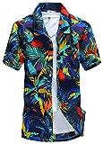 APTRO(アプトロ)メンズ アロハシャツ オシャレ メンズシャツ フローラル ワイシャツ プリントシャツ ハワイ風 半袖シャツ 通気速乾 UV対策 ST19ブルー JP 2XL(タグ L)