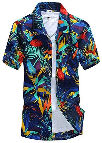 APTRO(アプトロ)メンズ アロハシャツ オシャレ メンズシャツ フローラル ワイシャツ プリントシャツ ハワイ風 半袖シャツ 通気速乾 UV対策 ST19ブルー JP4XL(タグ2XL)