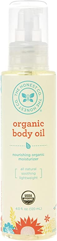 The Honest Company Organic Body Oil | Certified Organic | All-Natural | Plant-Based | Hypoallergenic | Lightweight | Biodegradable | Jojoba Oil, Tamanu, Olive, Avocado & Sunflower Oil | 4 Fluid Ounces