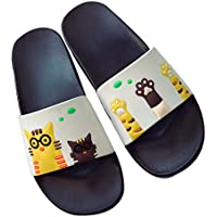 Cute Cat Print Slippers Summer Bathroom Non-Slip Soft Bottom Sandals, Pure White