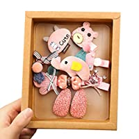 RousZL 10ピース/セット韓国女の赤ちゃんかわいい漫画ヘアピンセットぬいぐるみ動物人形ちょう結び髪留め子誕生日ヘアクリップ付きギフトボックス