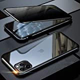 iPhone 11 Pro ケース 覗見防止 両面ガラス 対応 360°全面保護 OURJOY iPhone11Pro アルミ バンパー ケース マグネット式 磁石 磁気接続 スマホケース 耐衝撃 アイフォン 11 Pro ケース クリア (iPhone 11 Pro ブラック)