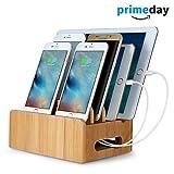 MixMart 竹製 充電スタンド 1台2役 iphone iPad対応 アンドロイドスマホSony Xperia Nexus·タブレット対応 2in1携帯充電用スタンド 環境に優しい 机スッキリになる収納グッズ