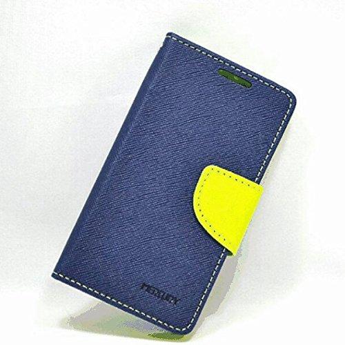 【シンプルにオシャレなケース!】iPhone 7 PU レザー 手帳型 ケース マルチ カラー Fancy Diary case カード収納 クリーニングクロス 付 【DISE オリジナルセット】 (iPhone 7, ネイビー×グリーン)