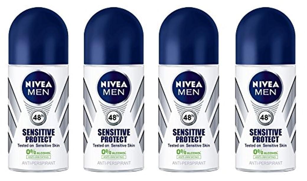 青アボート分散(Pack of 4) Nivea Sensitive Protect Anti-perspirant Deodorant Roll On for Men 50ml - (4パック) ニベア敏感な保護する制汗剤デオドラントロールオン...