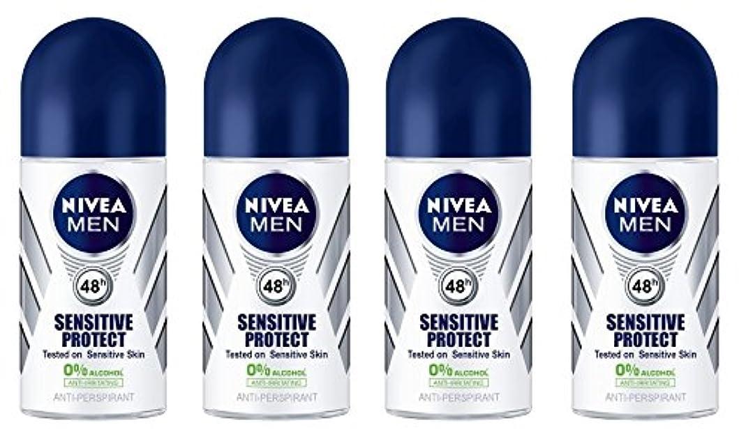 強制シーボード緯度(Pack of 4) Nivea Sensitive Protect Anti-perspirant Deodorant Roll On for Men 50ml - (4パック) ニベア敏感な保護する制汗剤デオドラントロールオン...