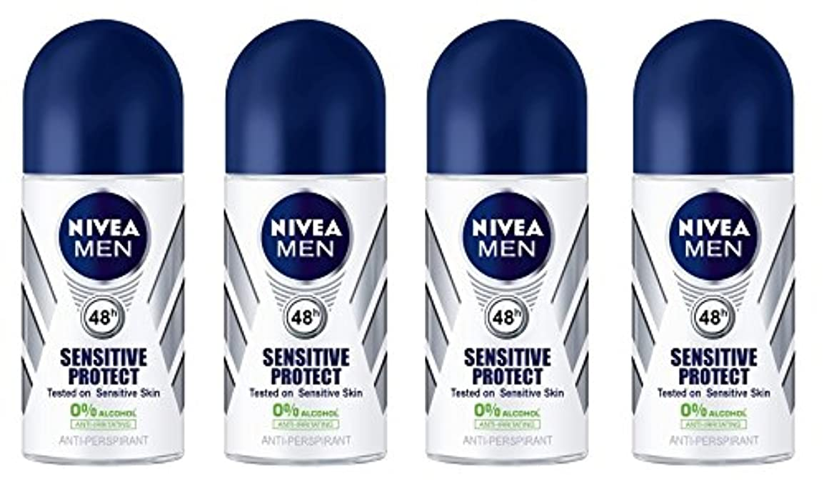 必須ノート意義(Pack of 4) Nivea Sensitive Protect Anti-perspirant Deodorant Roll On for Men 50ml - (4パック) ニベア敏感な保護する制汗剤デオドラントロールオン...