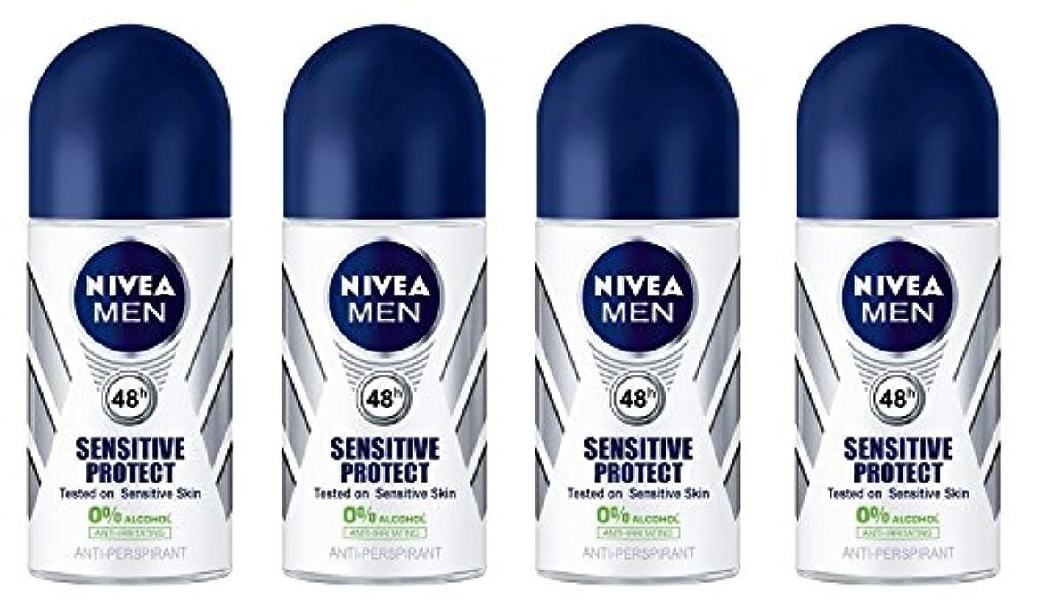 注ぎます計算シプリー(Pack of 4) Nivea Sensitive Protect Anti-perspirant Deodorant Roll On for Men 50ml - (4パック) ニベア敏感な保護する制汗剤デオドラントロールオン...