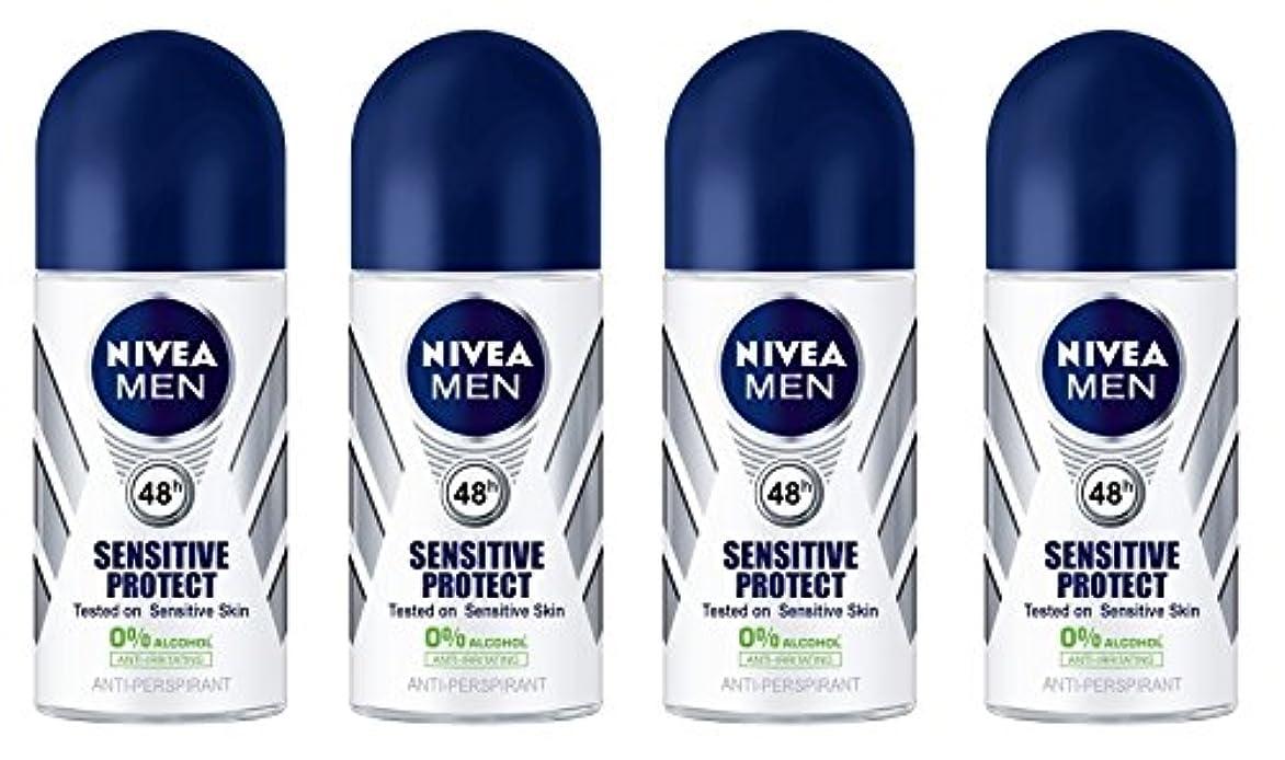 ドラフト放牧する必需品(Pack of 4) Nivea Sensitive Protect Anti-perspirant Deodorant Roll On for Men 50ml - (4パック) ニベア敏感な保護する制汗剤デオドラントロールオン...