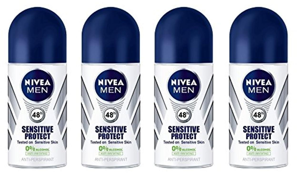 被る拳一般的な(Pack of 4) Nivea Sensitive Protect Anti-perspirant Deodorant Roll On for Men 50ml - (4パック) ニベア敏感な保護する制汗剤デオドラントロールオン男性用50ml