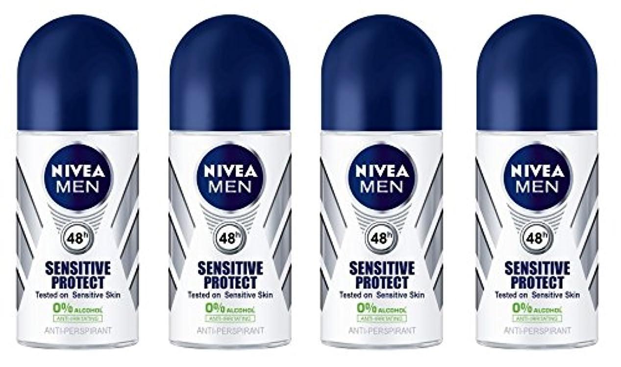 花に水をやるそうキロメートル(Pack of 4) Nivea Sensitive Protect Anti-perspirant Deodorant Roll On for Men 50ml - (4パック) ニベア敏感な保護する制汗剤デオドラントロールオン...